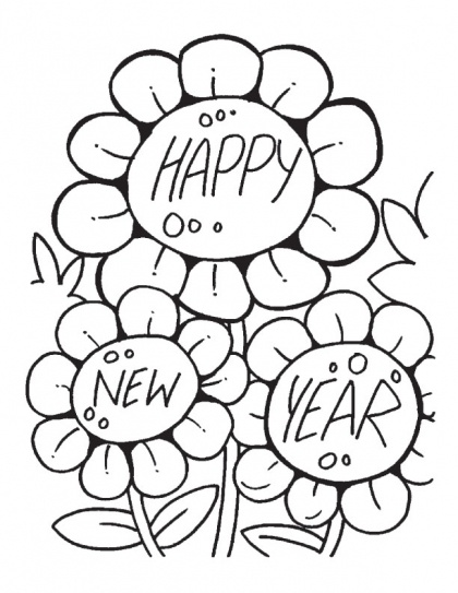 Flowers Are Also In Mood Celebrating New Year Coloring Pages