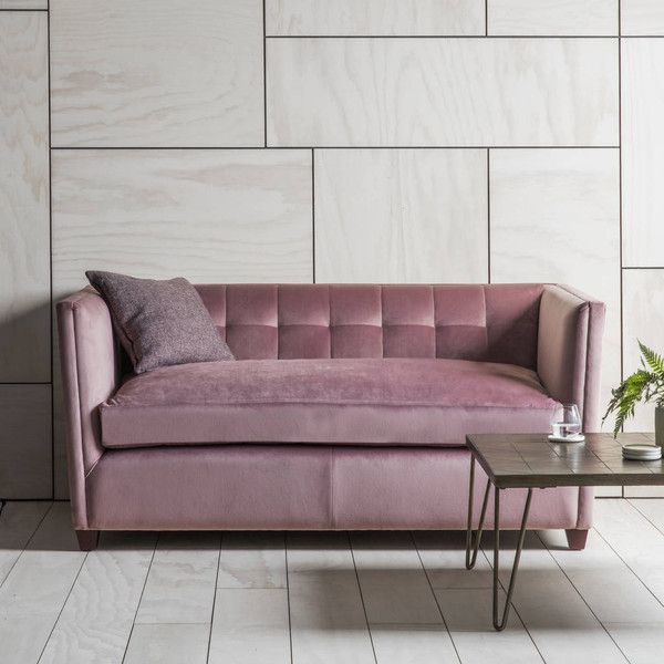 Primrose & Plum Pink Velvet Sofa ($1,470) ❤ liked on Polyvore featuring home, furniture, sofas, velvet loveseat, velvet furniture, plum sofa, pink love seat and pink furniture