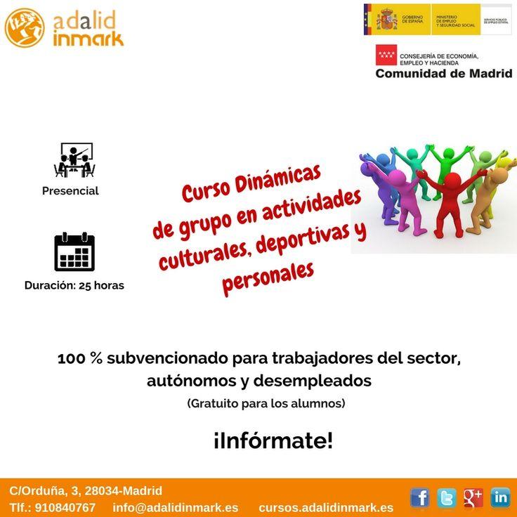 #Curso de Dinámicas de grupo en actividades culturales, deportivas y personales gratuito para #trabajadores del sector, #autónomos y #desempleados.