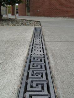 Greek Key trench grate, driveway application, Church Plaza, Seattle Washington.