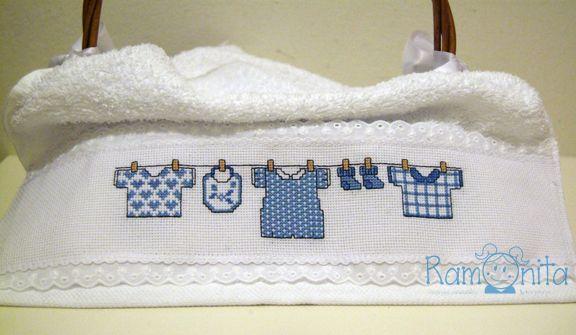 Ramonita Toallas Para Beb 233 Bordadas En Punto De Cruz