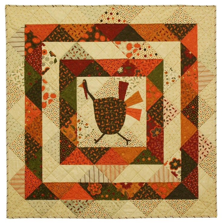 Sandy Gervais - Running scared. Thanksgiving quilt!