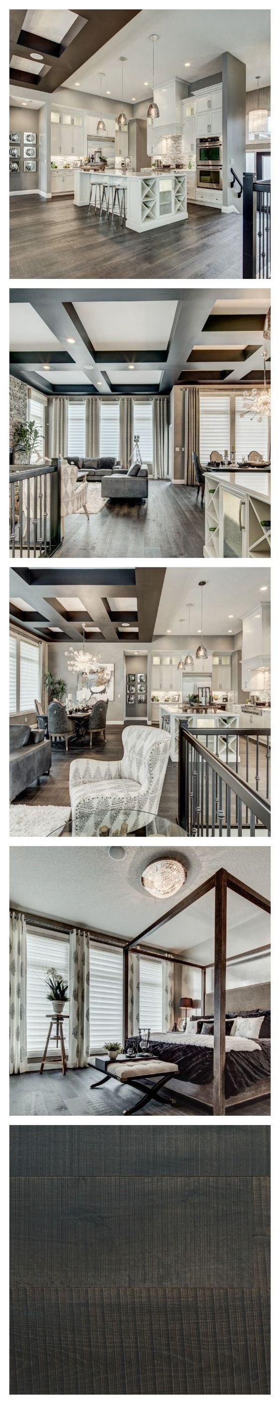 There is a decidedly glamorous edge to this breathtaking model home by Alquinn Homes in Edmonton. The sophisticated palette of greys and creams adds to the luxe appeal. Farmhouse flooring in the colour Le Bourg.