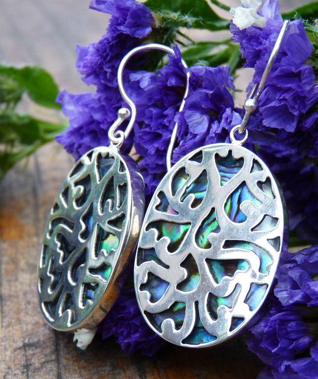 Paua shell silver earrings encased in carved silver