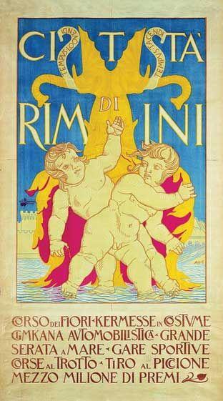 Rimini 1921 Putti bagnanti. Manifesto di Adolfo De Carolis per la pubblicità della stagione 1921