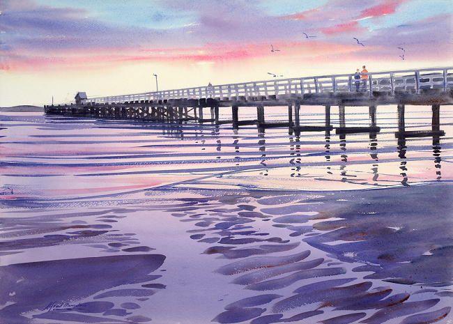 Evening Light, Petone Wharf, Alfred Memelink