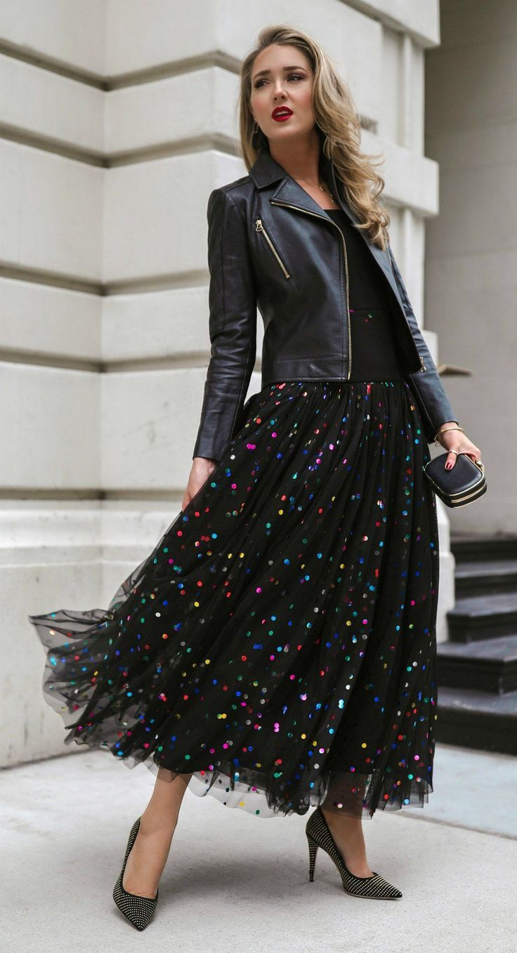 Gorgeous Winter Outfit Leather Jacket With Polka Dots Tulip Fork Tulle Skirts Outfit Fashion Skirt Outfits [ 1357 x 736 Pixel ]