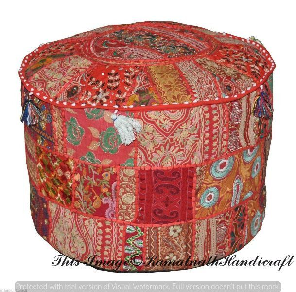 Indian Bohemian Style Ottoman Pouf Interior Decor Footstool Floor Pillow Indian Embroidered Pouf Pouffe Pouffes Patchwork Seat Cover