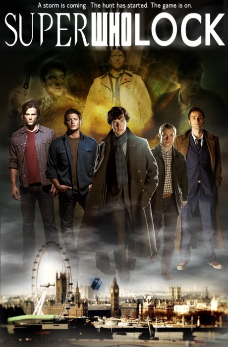 What would happen in this show... OK so theres some odd murder case in London, and its big enough for Sam and Dean to fly out there. Sherlock is bored so he takes the case, the Doctor comes and explains that its some sort of invisible alien. Deductions, some bones being salted and burned, and sonic-ing of many things. I'd watch that.
