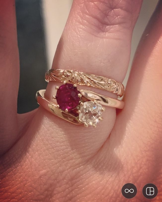 Toi Et Moi Bypass Ruby And Diamond Engagement Ring Wedding Ring