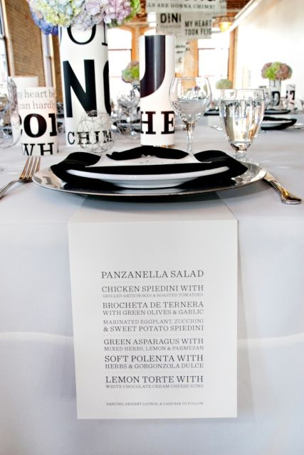 Menu Table Setting Design From A Wedding At Day Block Event Center Minneapolis