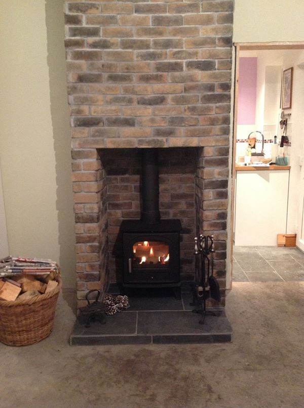 Thin brick slip fireplace made with eazyclad brick slips