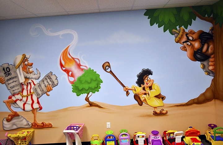 """Moses and the Burning Bush"" and ""David and the Giant"" church murals for kids. www.ImaginationAtmospheres.com"