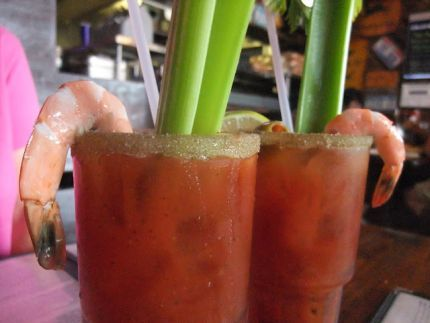 The Best Bloody Mary Drink You Will Ever have! Recipe on Foodgeeks.  Yeah .... still liking the V8 idea better.  But I DO like the sea salt, black pepper and cayenne rimmed glass suggestion!