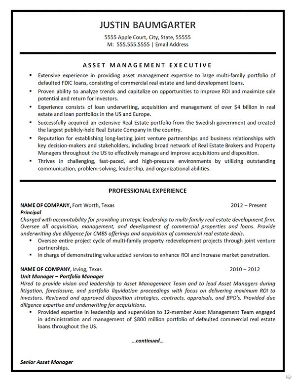 Asset Management: Asset Management Resume Example