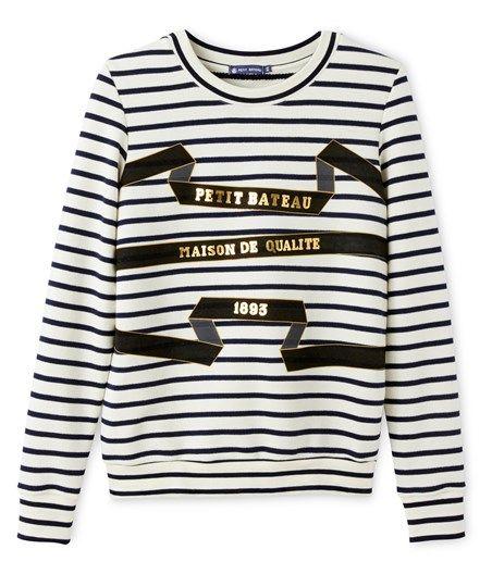 Sweat shirt femme à rayure marinière sérigraphié - petit Bateau