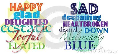 An illustration with the words happy, glad, delighted, ecstatic, joyful, elated and an illustration with the words sad, despairing, heartbroken, dismal, down, melancholy and blue for concept of synonyms, opposite, typography