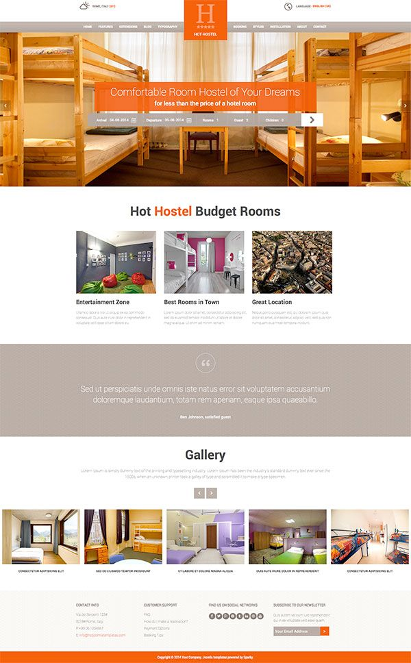 Hot Hostel responsive Joomla template for development of websites for hotels and hostels. This is the first time we supported a free online reservation, so you can have a simple yet useful reservation system for your site.