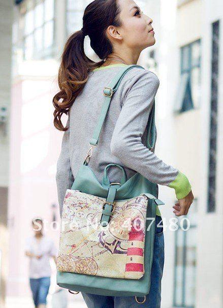 frete grátis Mapa Bolsa da forma de desenho Bolsa Designer menina marca Senhora saco de ombro do vintage mochila estilingue elegante múltiplos