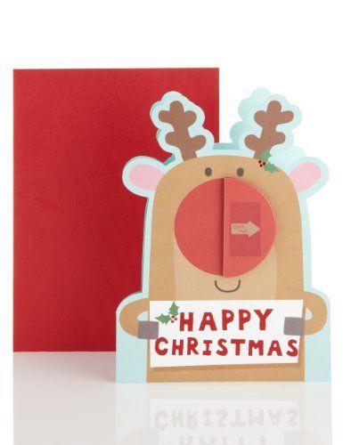 Honeycomb Reindeer Christmas Card-Marks & Spencer designed by sarah hoggard