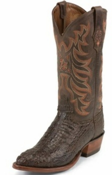 Tony Lama Boots Mens Exotic Western Cowboy Chocolate Vintage Hornback Caiman Boots 1062