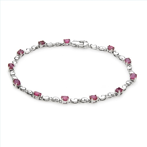 $299.00  Irresistible Brand New Bracelet With 2.40ctw Precious Stones - Genuine  Diamonds and Rubies  White Gold. Total item weight 5.5g  Length 7in - Certificate Available.