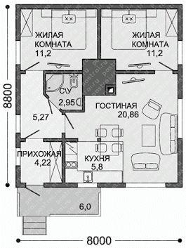 Новый проект одноэтажного каркасного дома № C-061-1S http://www.postroi.ru/projects/c-061-1s/ Общая площадь каркасного дома - до 100 м.кв. Габариты 8 x ... - Проекты домов и коттеджей - Google+