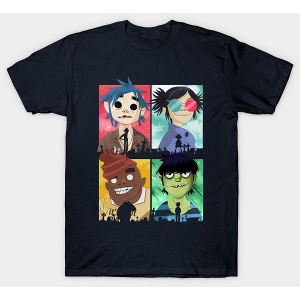 Gorillaz T-Shirt ($20) ❤ liked on Polyvore featuring tops, t-shirts, blue t shirt, blue tee and blue top