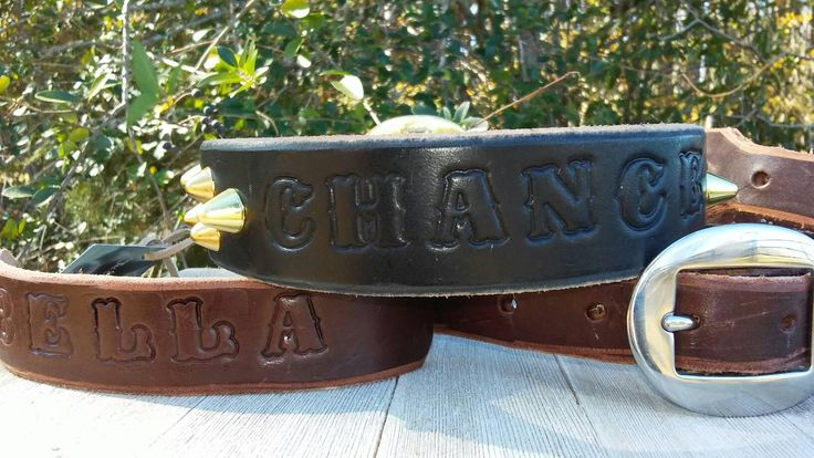 Personalized leather dog collar,personalized name,stud dog collar,handcrafted dog collar