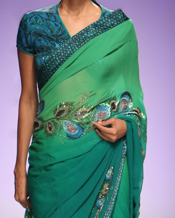 Emerald Green Ombre Sari With Sequin Peacock Feathers