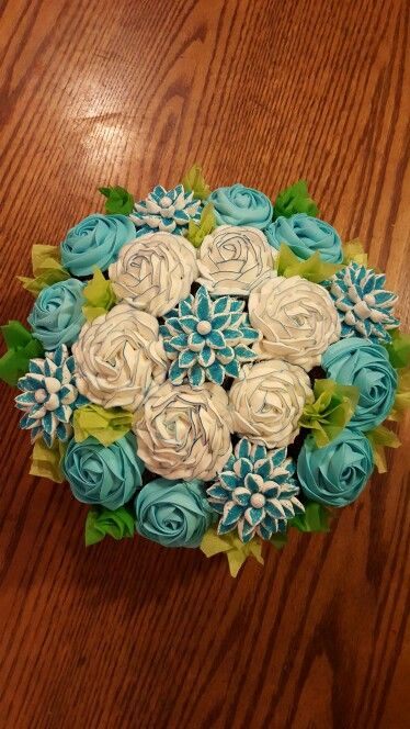 Blue bouquets of cupcake flowers