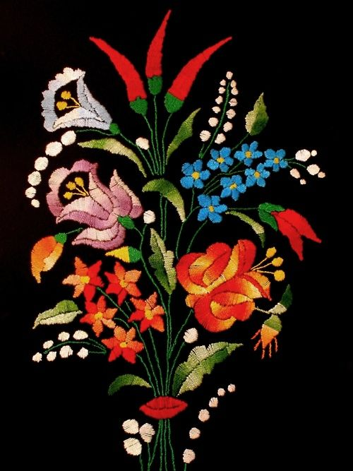 Handmade HungarianKalocsa embroidery.
