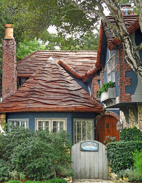 ~Fairytale cottage, Windamere, with it's marvelous rolled-top roof.  Carmel CA~
