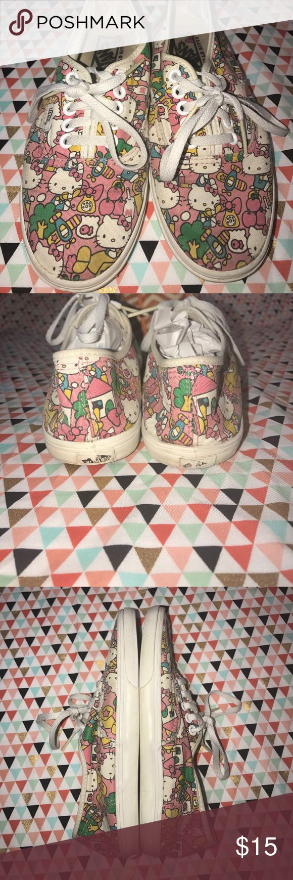 Hello Kitty Vans size 5 See pictures for condition. These have been worn but there is lots of love left! Vans Shoes Sneakers
