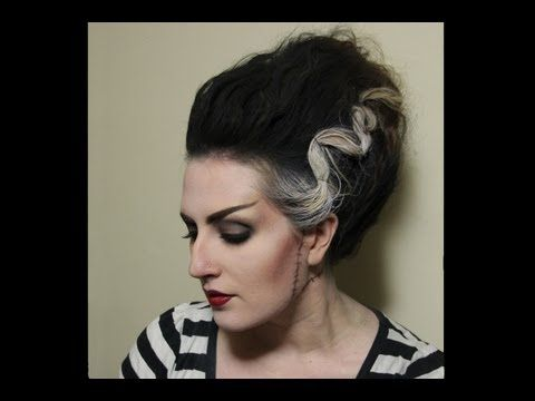 Video tutorial for Bride of Frankenstein Hair - Halloween  By Alchemy Makeup Artistry