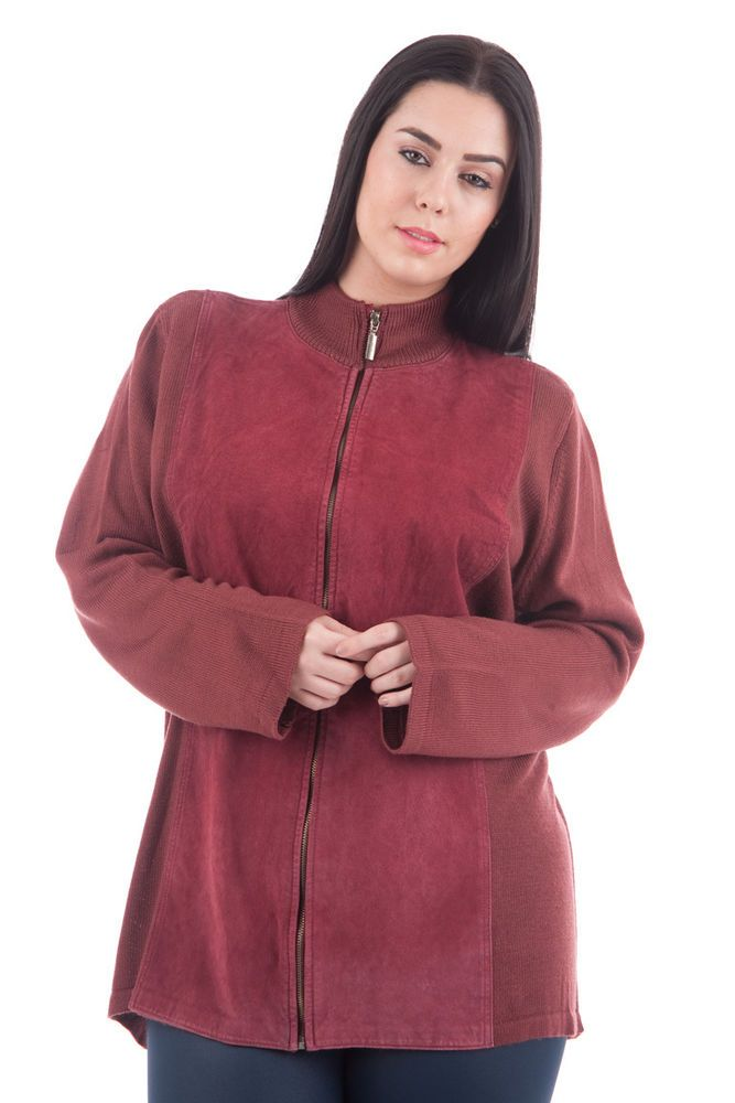 Womens LONG SLEEVE CARDIGAN WITH FAUX SUEDE DETAIL Size 18