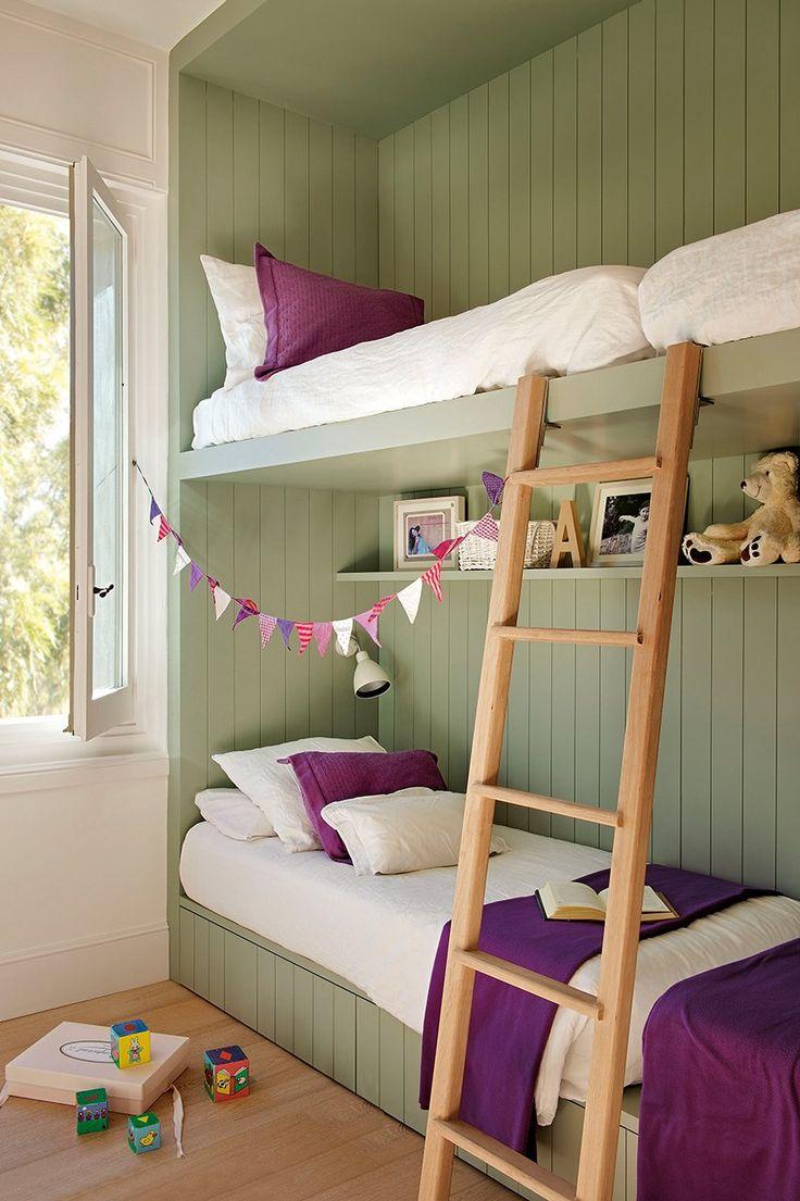 #kids room. Unas  literas con mucho estilo. Color menta y brenjena. Atrévete con éstas combinaciones!