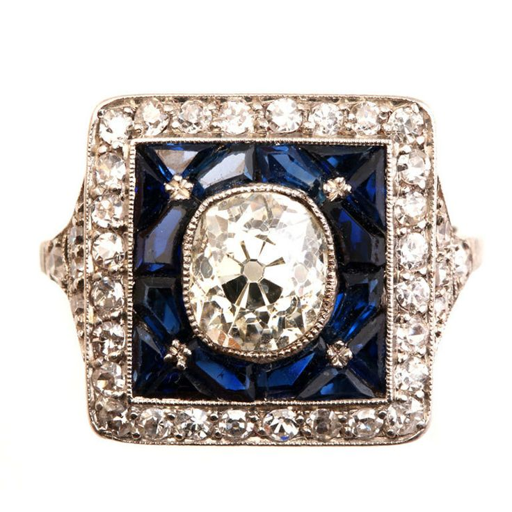 1920s platinum with french sapphires and diamond ring