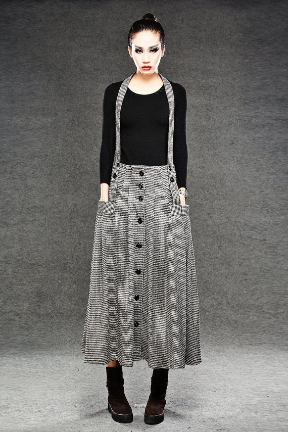 Pleated Wool Suspender Skirt - Black & White Houndstooth Check Print with Funky Braces and Pockets C049