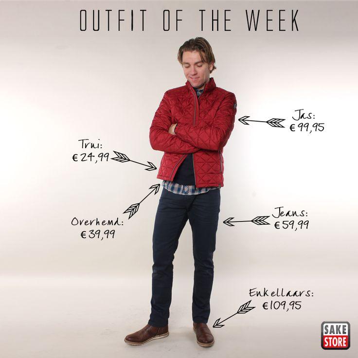 Deze week weer een outfit voor de mannen: een mooie donkerblauwe jeans van EDC, gecombineerd met een geblokt overhemd, sweater en hip rood winterjack van No Excess. De schoenen van Brunotti maken de set af!