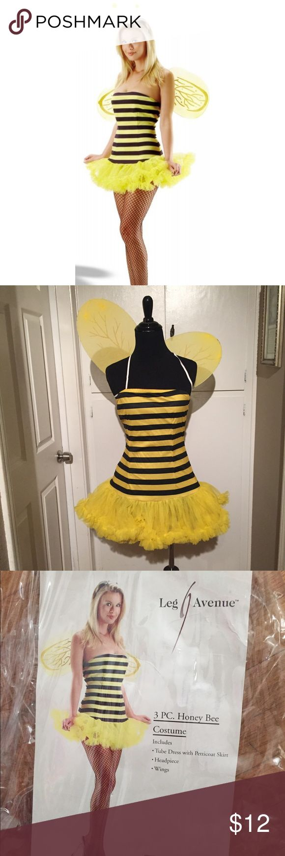 Halloween Leg Avenue Bee Costume In bag. Contains all 3 pieces; headband, dress, and wings. Size small/medium. Like new. I am selling on. ♏️ercari for $9 with $4 shipping leg avenue Dresses Mini