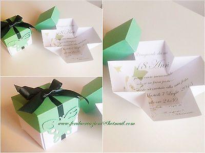INVITO 18 ANNI   EXPLODING BOX  farfalla- inviti originali compleanno