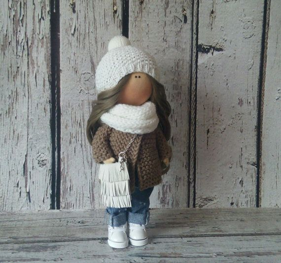 Winter doll doll Tilda doll Art doll handmade white brown colors Rag doll Soft doll Cloth doll Fabric doll  doll by Master Irina Bukina