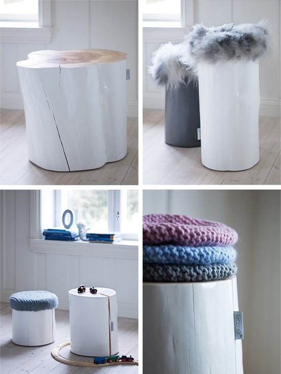 painted #wood stumps by Norwegian company Krosser. found via 79ideas blog #interior