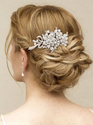 "Elegant Rhinestone Flower Bridal Hair Comb ~ ""Lila"" - Bridal Hair Accessories, Wedding Headpieces, Bridal, Wedding, Hair Accessories, Headpieces, Combs, Clips, Hair Pins, Flowers, Headbands, Tiaras, Jewelry, Vintage, Beach - Hair Comes the B"