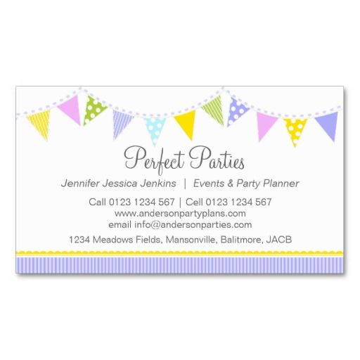 12 best images about event planner business cards on for Party business card ideas