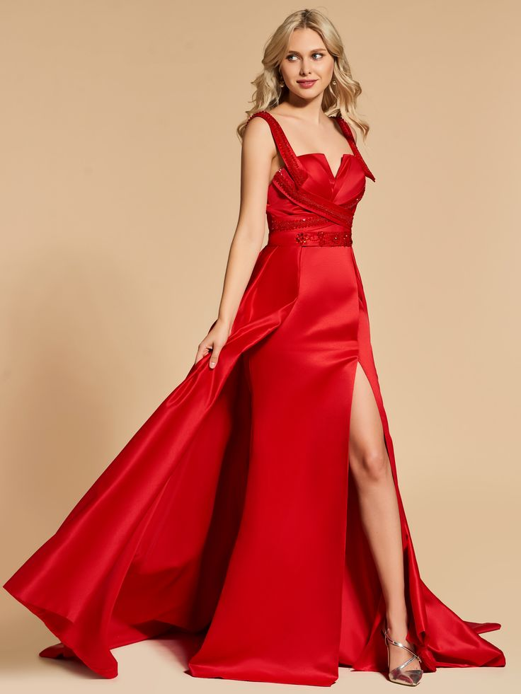 Material:Matte Satin|Embellishments:Beading  #eveningdress #party #prom #red