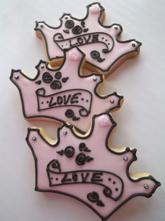 Princess Crown Cookie Favors Tattoo style 1 dz