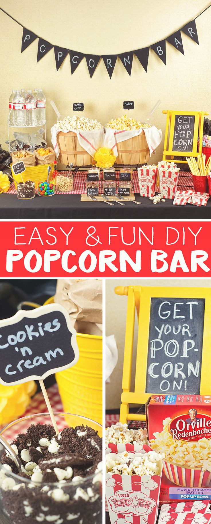 "DIY Popcorn Bars are ""popping"" up at all types of parties and get together's! Here are a few tips for Creating the Best DIY Popcorn Bar at your next gathering."
