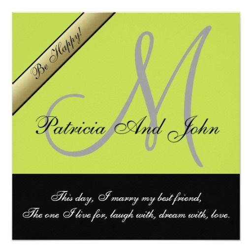 Apple Green & Black Monogram Wedding Invitations